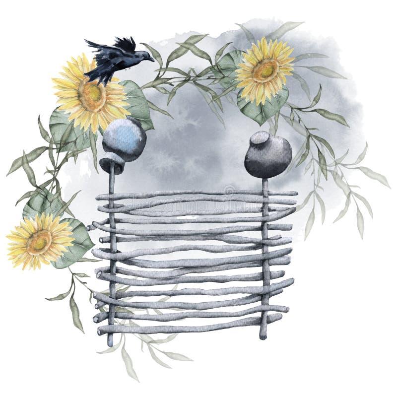 Landelijke omheining met zonnebloemen Geïsoleerdj op witte achtergrond vector illustratie