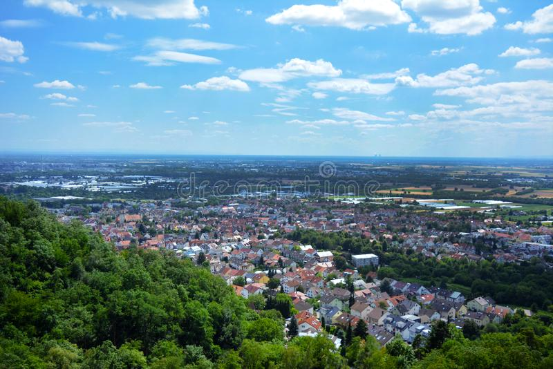 Landelijke panoramamening van het gebied van Rijn Nckar van Odenwald in Baden Württemberg in Duitsland stock afbeeldingen