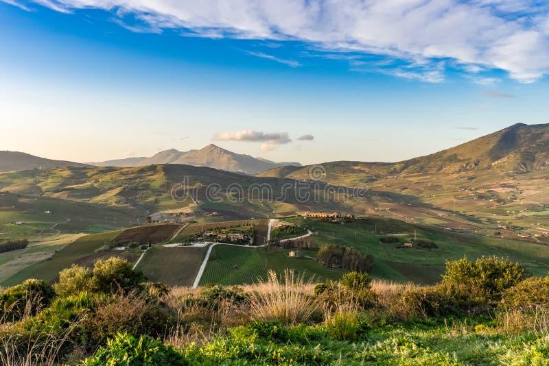 Landelijke scène in de provincie van Trapan in Sicilië stock afbeelding