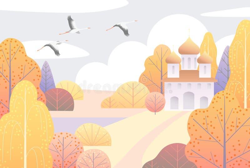 Landelijke Scène met Kerk en Gele Bomen royalty-vrije illustratie