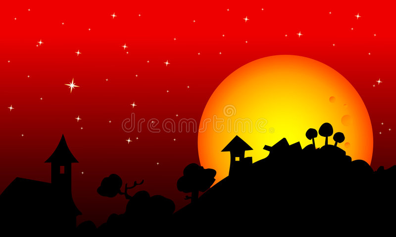 Landelijke skyscape van Halloween stock illustratie