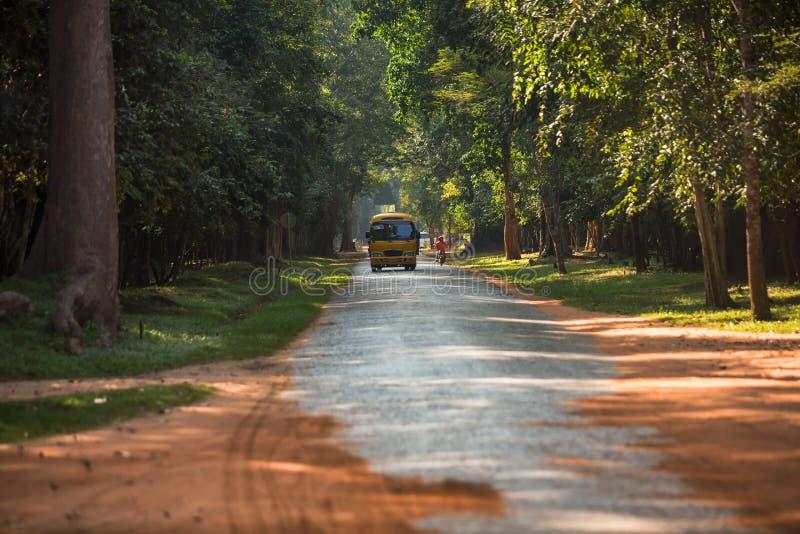 Landelijke weg in angkor thom stock afbeelding