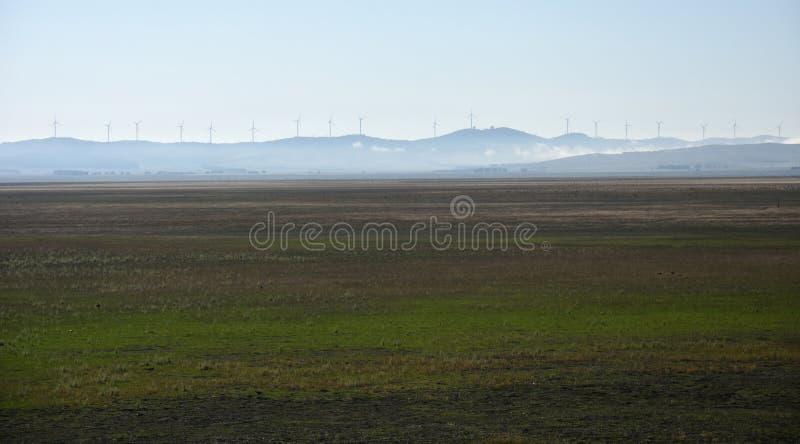 Landelijke windlandbouwbedrijven bij Meer George in Australië royalty-vrije stock afbeeldingen