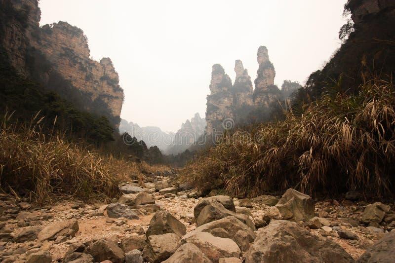 Landen Sie scape Ansicht von Tien mansan in Zhangjiajie stockfotos