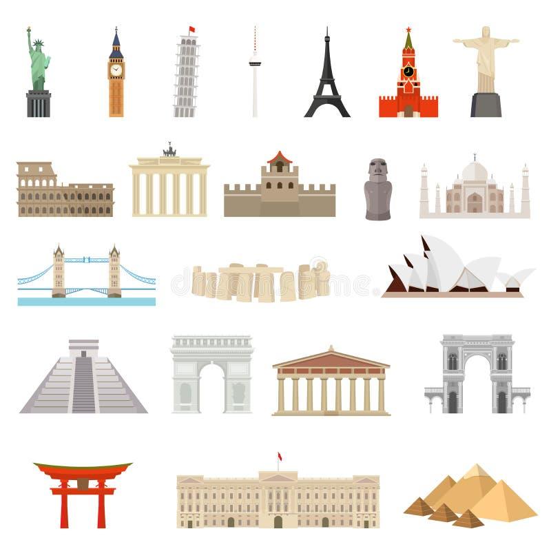 Landen van de wereld architectuur, monumenten of oriëntatiepuntpictogram vector illustratie