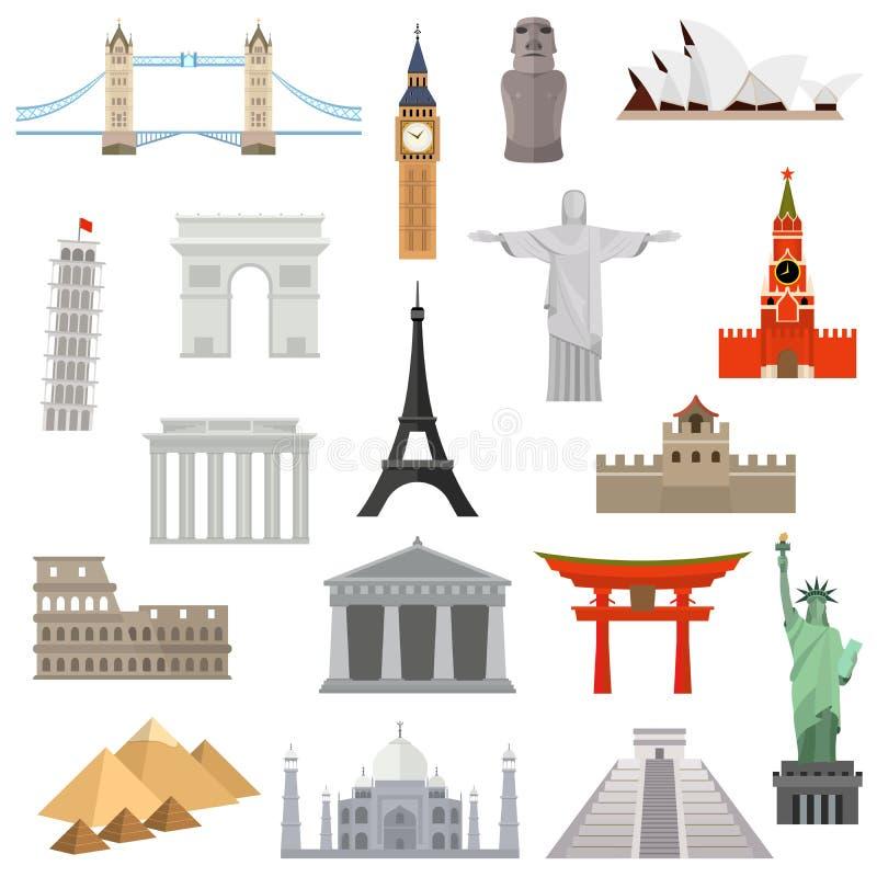 Landen van het het ontwerpmalplaatje van het wereld vectorembleem royalty-vrije illustratie