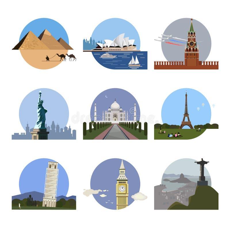 Landen van het het ontwerpmalplaatje van het wereldembleem stock illustratie