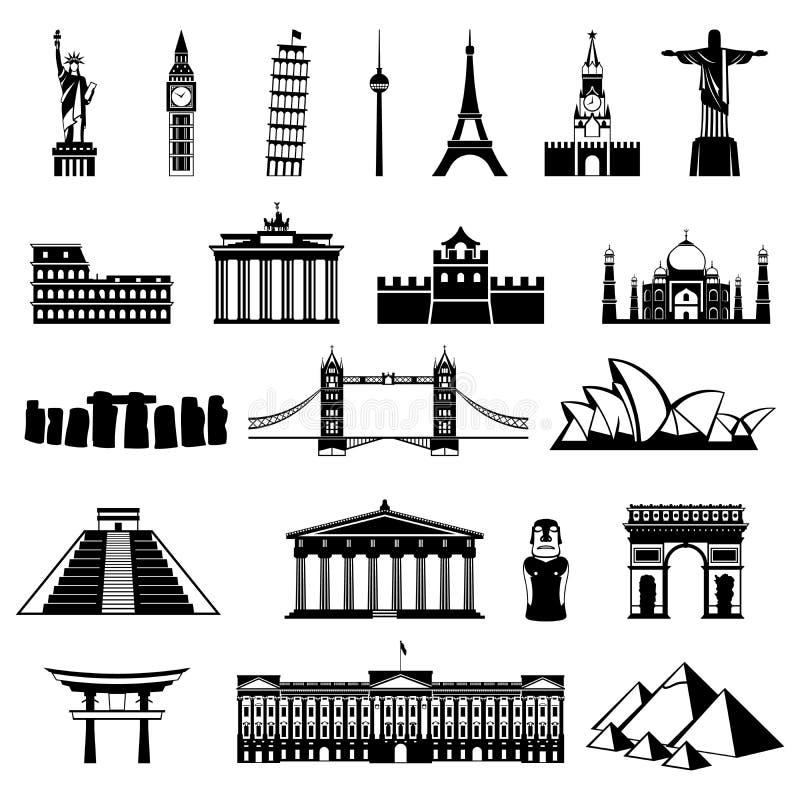 Landen van het wereldsilhouet architectuur, monumenten of oriëntatiepuntpictogram stock illustratie