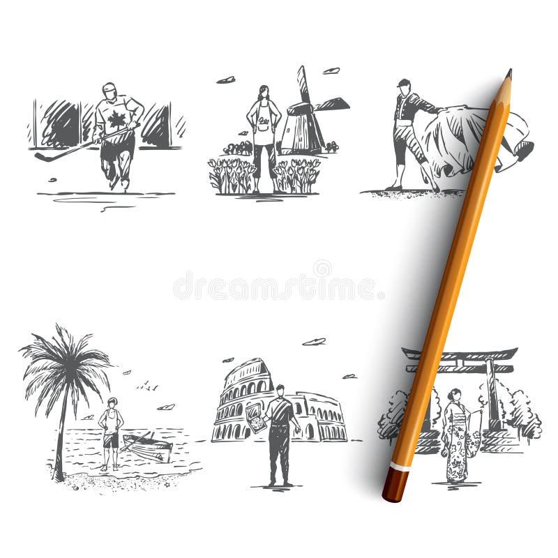 Landen - vector het conceptenreeks van Nederland, Spanje, Canada, Australi?, Itali?, Japan royalty-vrije illustratie