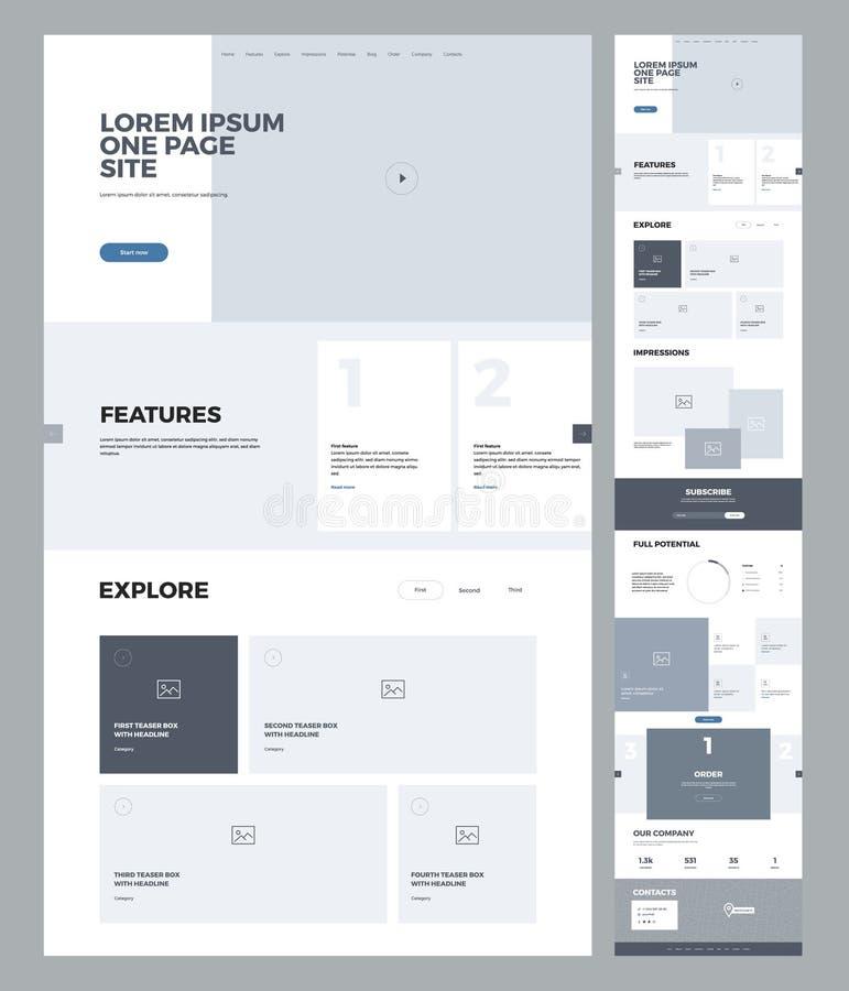 Landend het ontwerpmalplaatje van de paginawebsite voor zaken Één pagina wireframe Vlak modern ontvankelijk ontwerp Ux ui website royalty-vrije illustratie