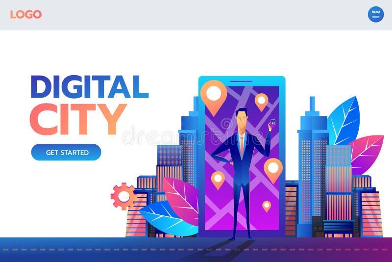 Landend Paginamalplaatje De mobiele vectorillustratie van het navigatieconcept Mens die zich voor smartphone met gps stad bevinde royalty-vrije illustratie