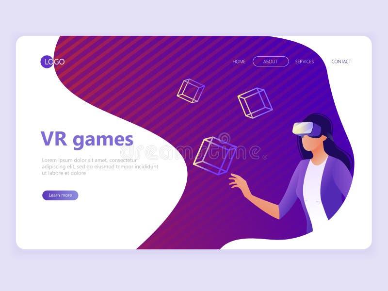 Landend Paginamalplaatje VR gokken, Videogokken, online spelen Vrouw met VR-glazen Vlakke vectorillustratieconcepten voor een Web stock illustratie