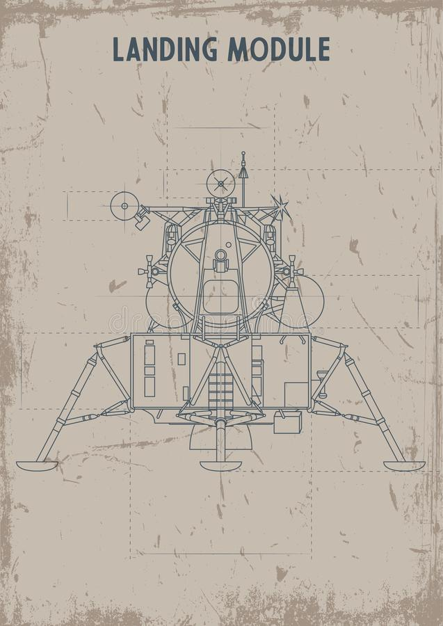 Landende Module Oude Tekeningen Stylization, Vuil Textuurdocument stock illustratie