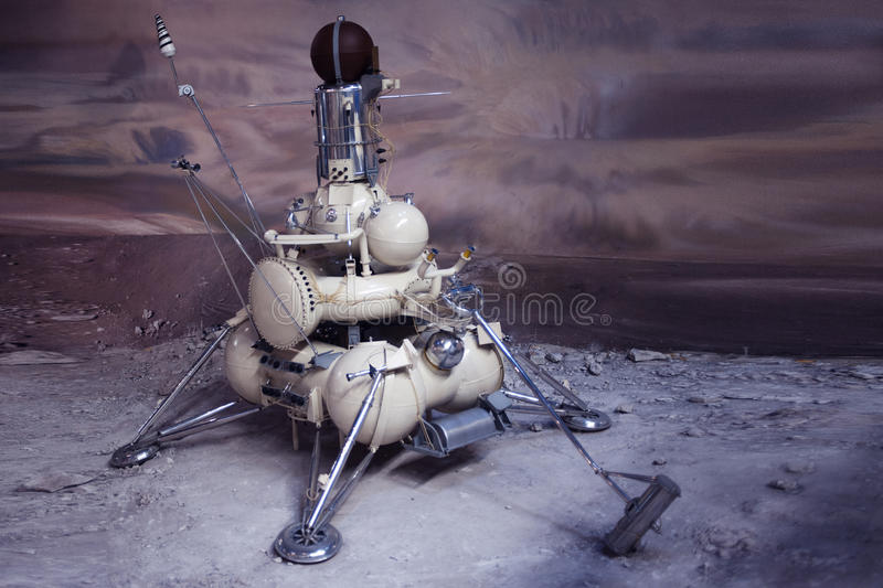 Lander for surface exploration of other planets. Historical object. The Museum of cosmonautics in Moscow, Russia. The lander for surface exploration of other royalty free stock photo