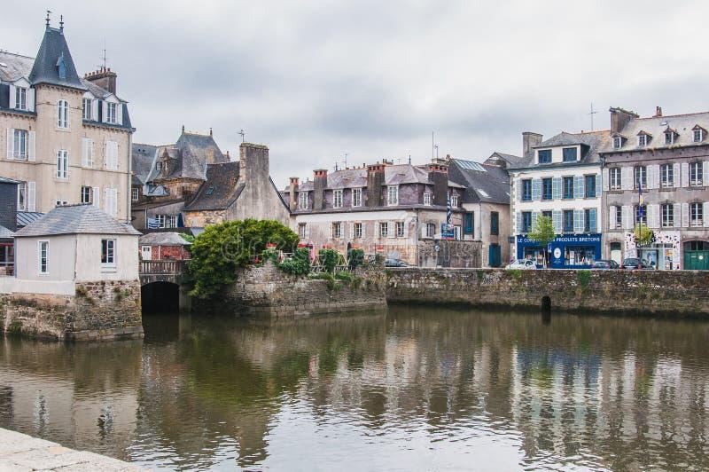 Landerneau del centro in Finistère fotografie stock libere da diritti