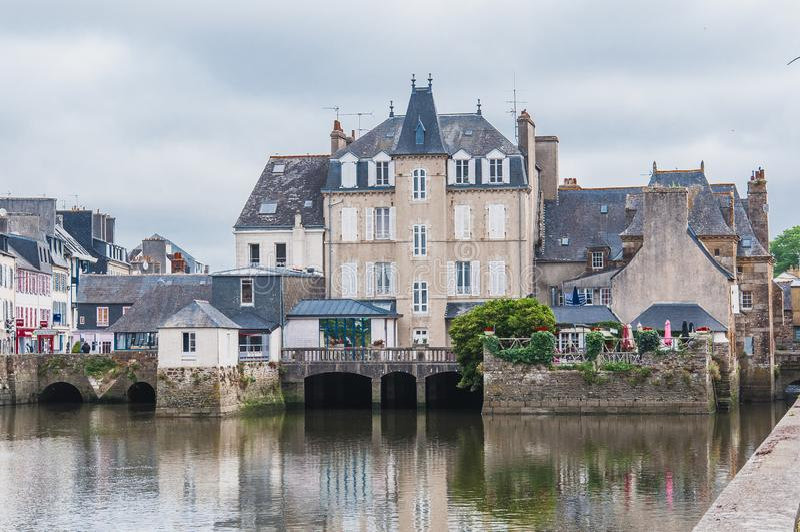 Landerneau do centro em Finistère fotografia de stock royalty free