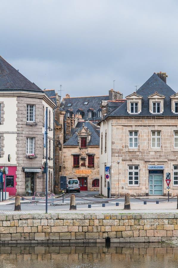 Landerneau do centro em Finistère fotos de stock royalty free
