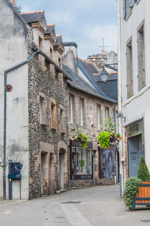 Landerneau do centro em Finistère fotos de stock