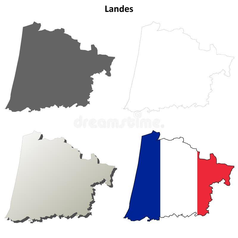 Landes, Aquitaine σύνολο χαρτών περιλήψεων απεικόνιση αποθεμάτων