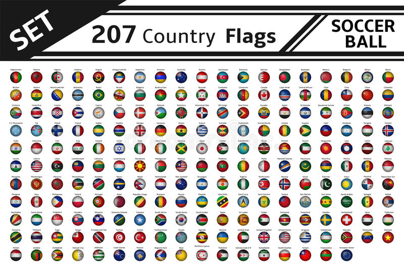 207 Landesflaggefußbälle lizenzfreie abbildung