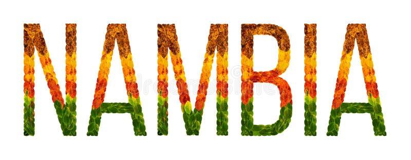Landet för ordet NAMBIA är skriftligt med sidor på en vit isolerad bakgrund, ett baner för utskrift, en idérik framkallning stock illustrationer