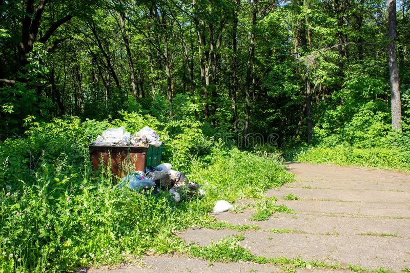 Landfill, garbage dump in the city Park royalty free stock photo