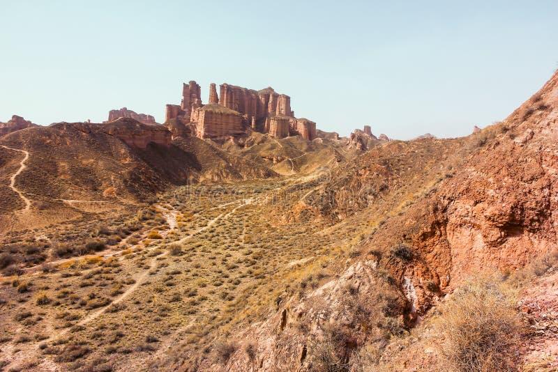 Landform de Binggou Danxia, geopark nacional de Zhangye, China imagens de stock royalty free