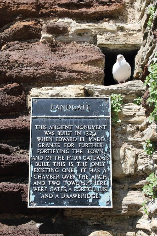 Sign on the wall at the Landgate arch in Rye East Sussex, England stock images