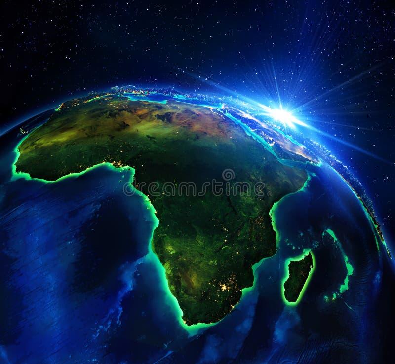 Landgebied in Afrika, de nacht vector illustratie