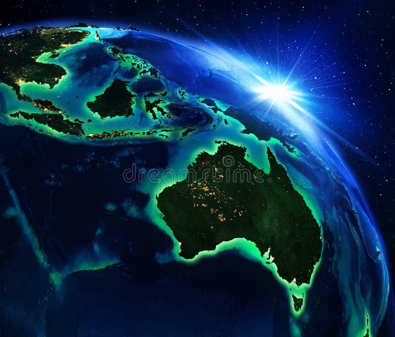 Landgebied in Australië en in Indonesië royalty-vrije illustratie