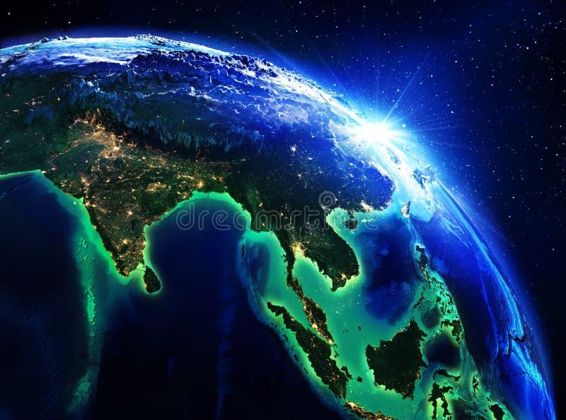Landgebied in India, China en Indonesië de nacht royalty-vrije stock afbeelding