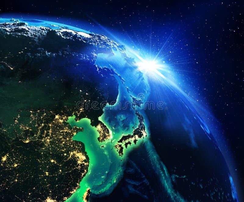 Landgebied in Japan de nacht stock afbeeldingen