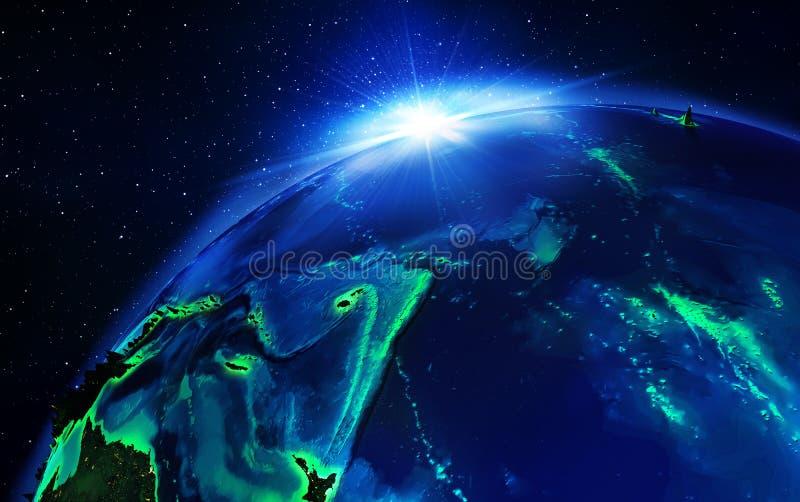 Landgebied in vreedzame oceaan royalty-vrije illustratie