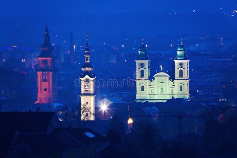 Landhaus,老大教堂和Stadtpfarrkirche在林茨 免版税库存照片