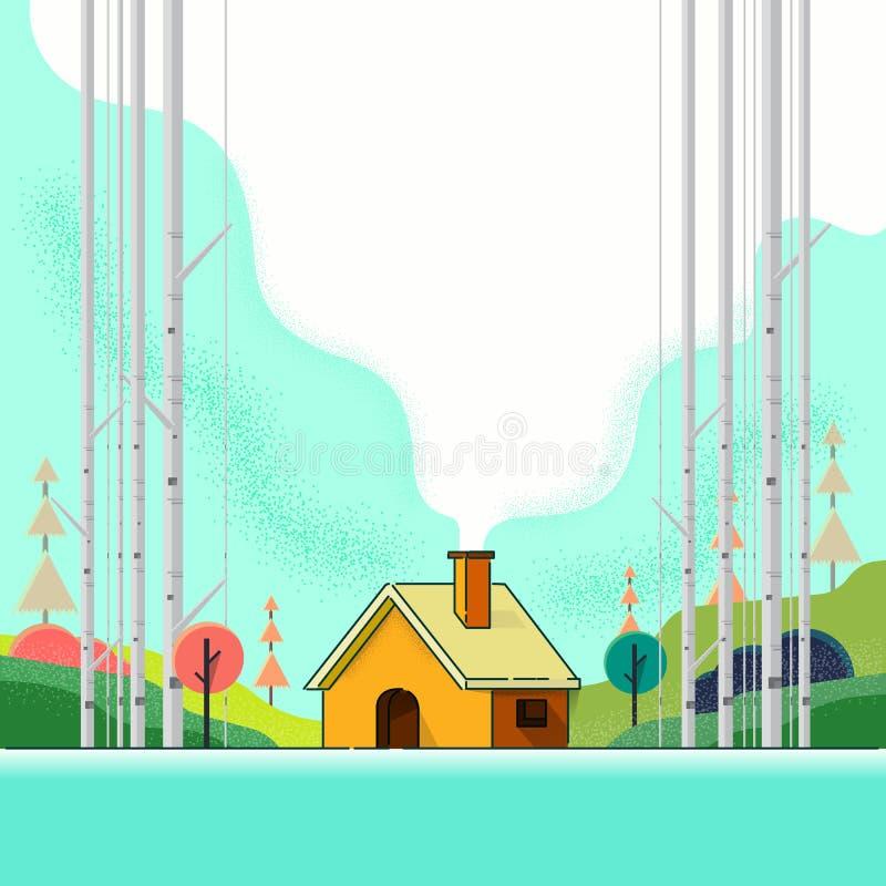 Landhaus in der Waldkarikatur Auch im corel abgehobenen Betrag Kunst stock abbildung