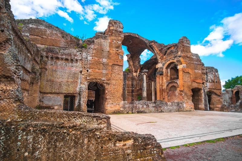 Landhaus Hadrian s in Tivoli - nahe Rom - arch?ologischer Markstein in Italien lizenzfreies stockfoto