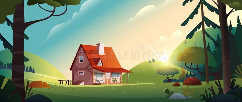 Landhaus im Waldbauernhof in der Landschaft Häuschen unter Bäumen Katze entweicht auf ein Dach vom Ausländer vektor abbildung