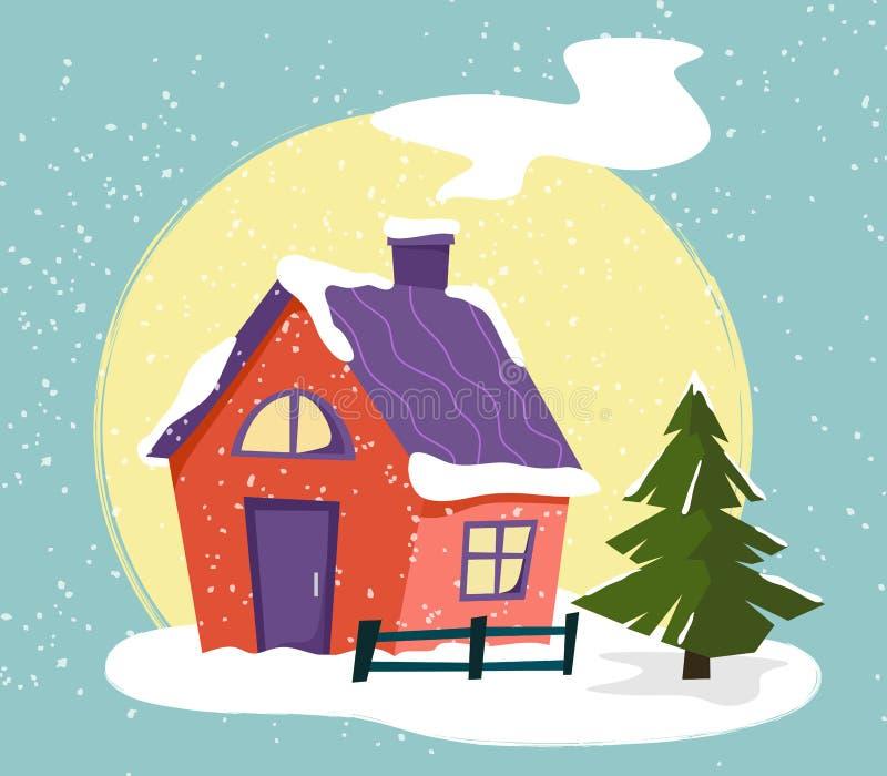 Landhaus mit einem Weihnachtsbaum, Zaun, Schnee im Stil der Ebene vektor abbildung