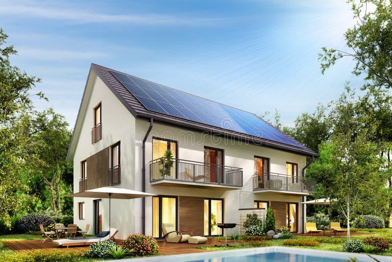 Landhaus mit Sonnenkollektoren auf dem Dach und einer Terrasse und einem Swimmingpool stockbild