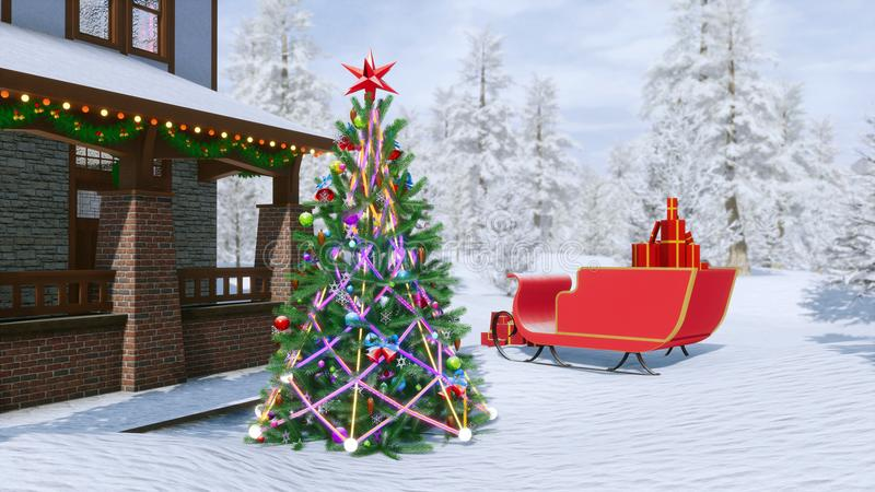 Landhaus verziert für Weihnachten vektor abbildung