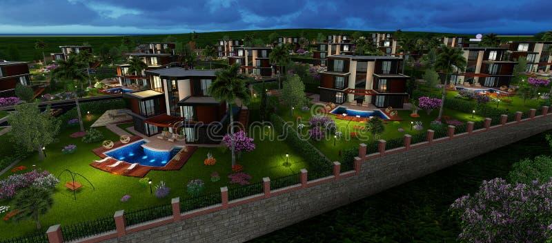 Landhausprojekt des Modells 3D stock abbildung