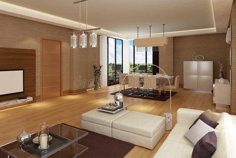 Landhausprojekt des Modells 3D Innen lizenzfreie abbildung