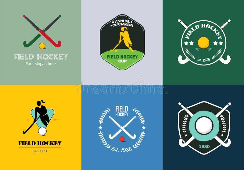 Landhockeylogouppsättning Vektorsporten förser med märke med den kvinnakontur-, pinne- och hockeybollen royaltyfri illustrationer