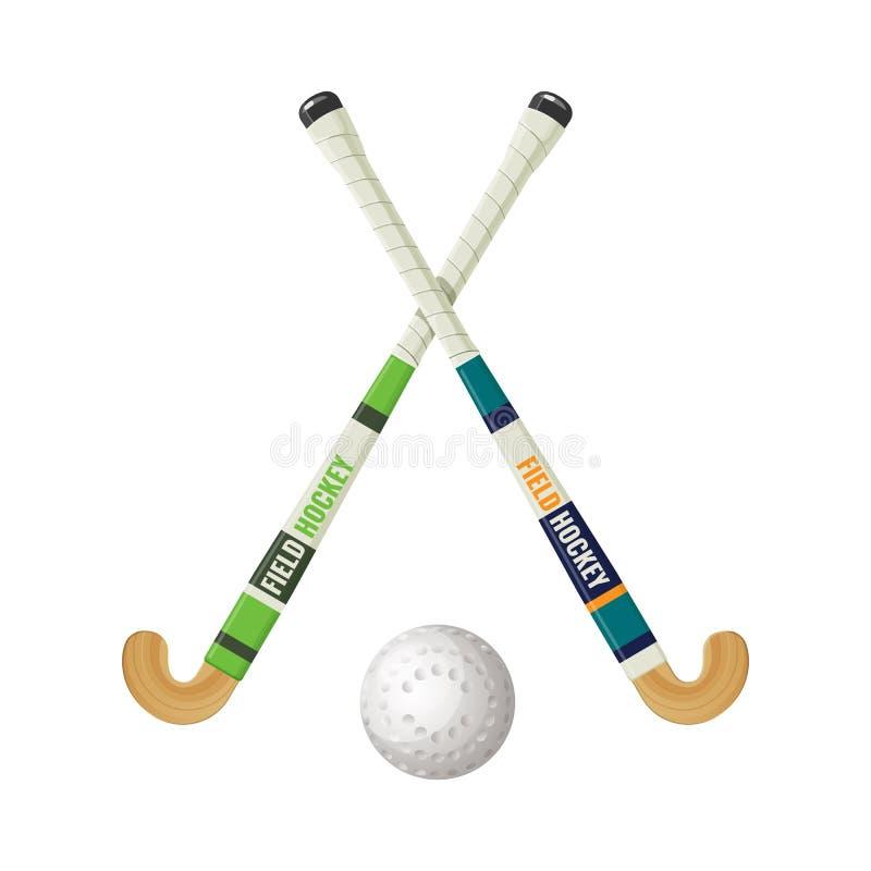 Landhockeyutrustning och liten bollvektorillustration vektor illustrationer
