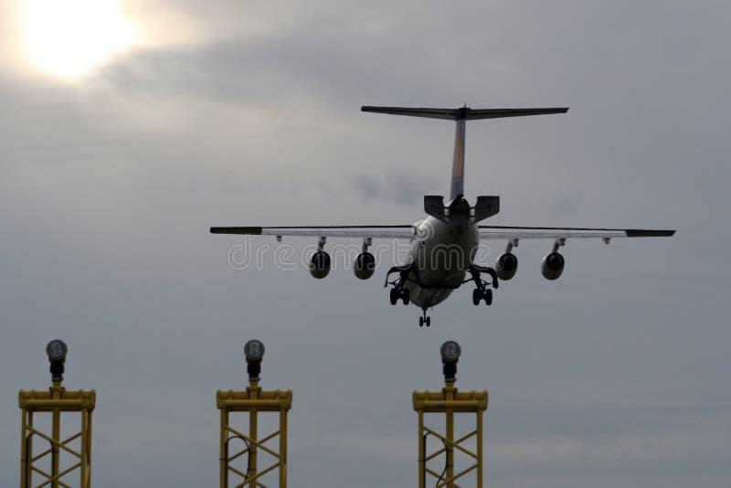 Download Landing Airplane stock photo. Image of flight, evening - 13214088