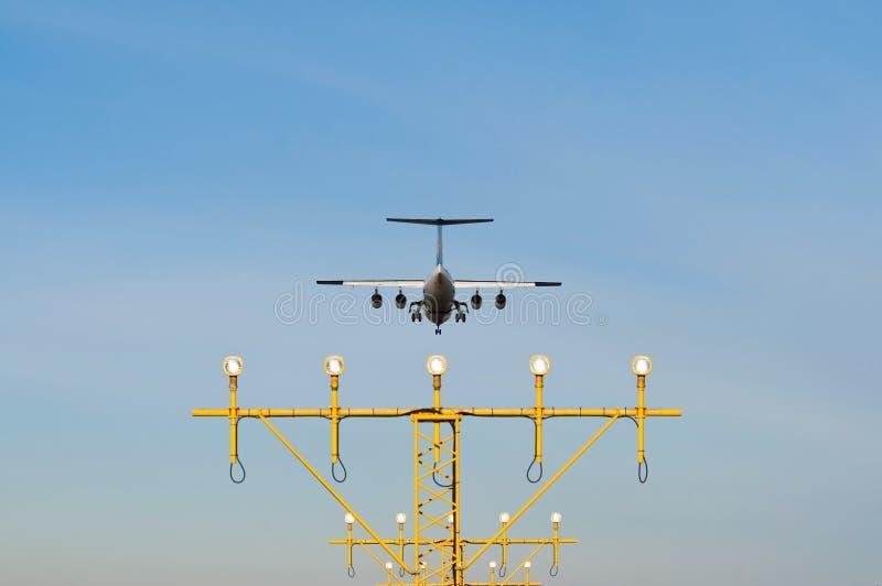 An Landing Airplane Stock Photo