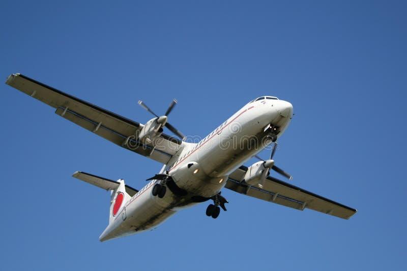 Landing airplane royalty free stock photos