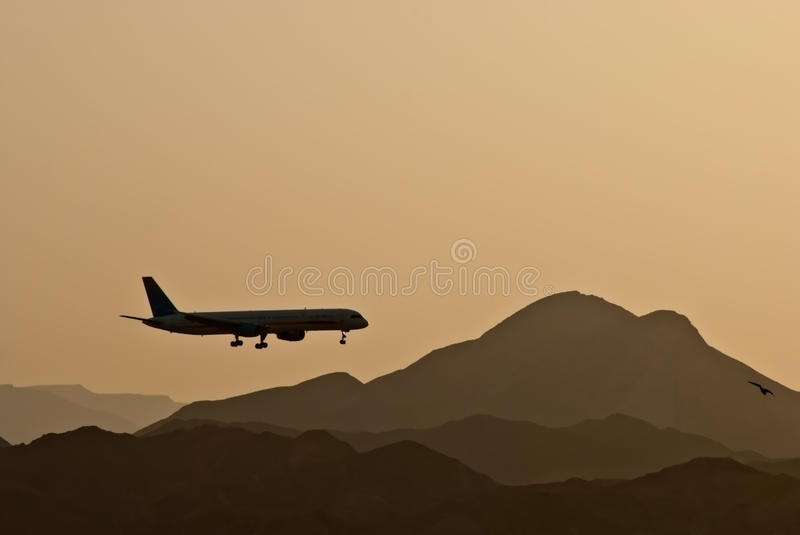 Landing at airport of Eilat, Israel. The shot was done at the start of a dust storm at Eilat airport, Israel stock photos