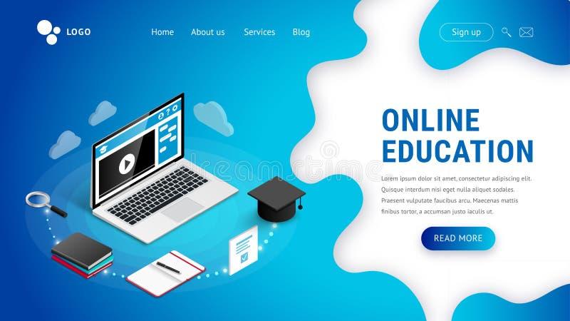 Landing e-learning concept blue stock illustration