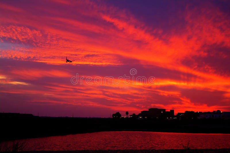 Landing in Faro. September's Sunset over the Ria Formosa in Faro, Portugal